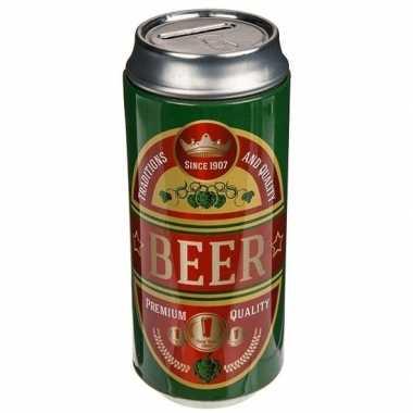 Afgeprijsde spaarpot bier blikken groen/rood