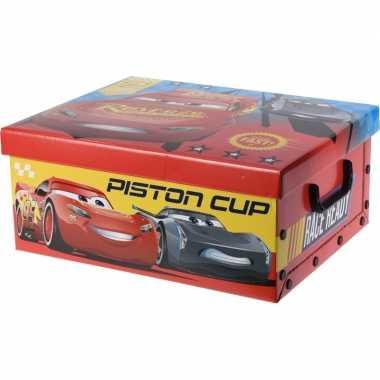 Afgeprijsde speelgoed opbergdoos cars rood 37 cm