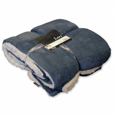 Afgeprijsde tweepersoons bedsprei/plaid grijs blauw/wit 150 x 200 cm