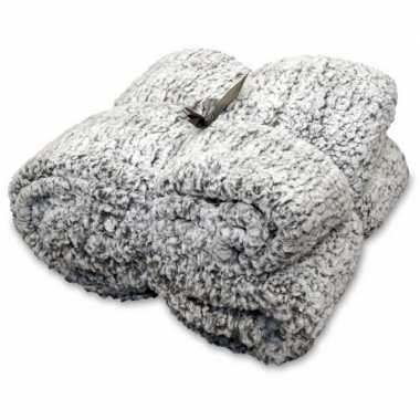 Afgeprijsde tweepersoons bedsprei/plaid knut antraciet grijs 150 x 20