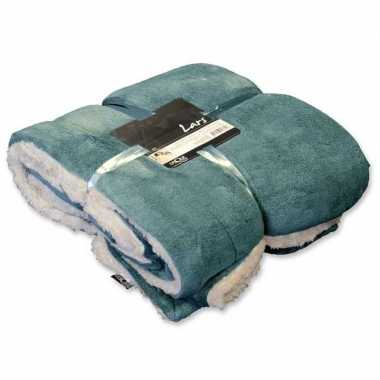 Afgeprijsde tweepersoons bedsprei/plaid mineraal blauw/wit 150 x 200