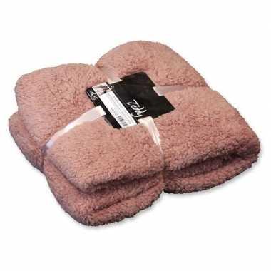 Afgeprijsde tweepersoons bedsprei/plaid teddy oud roze 150 x 200 cm n