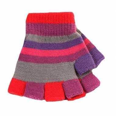 Afgeprijsde vingerloze handschoenen met gekleurde streepjes voor meis