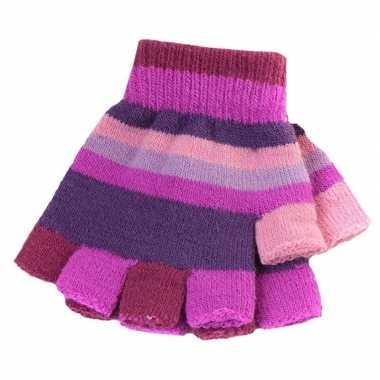 Afgeprijsde vingerloze handschoenen met paarse streepjes voor meisjes