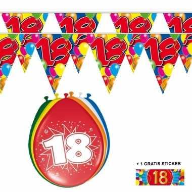 Afgeprijsde voordeelverpakking 18 jaar met 2 slingers en ballonnen