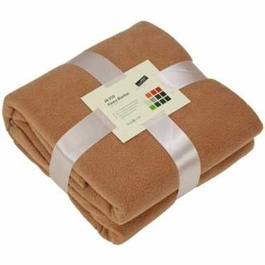 Afgeprijsde warme fleece dekens/plaids camel 130 x 170 cm 240 grams k