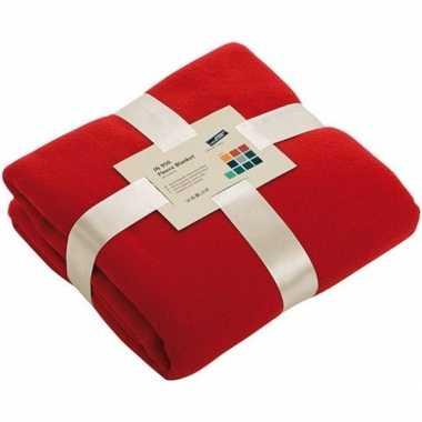 Afgeprijsde warme fleece dekens/plaids rood 130 x 170 cm 240 grams kw
