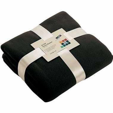 Afgeprijsde warme fleece dekens/plaids zwart 130 x 170 cm 240 grams k