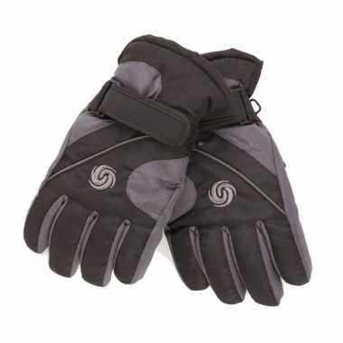 Afgeprijsde warme winter handschoenen voor kinderen zwart/donkergrijs