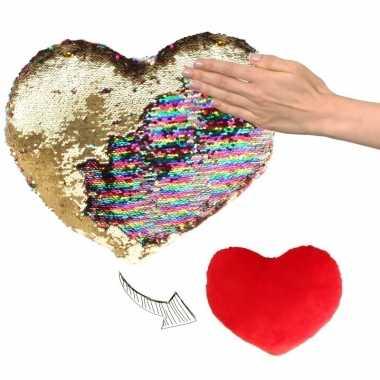 Afgeprijsde woondecoratie hartjes kussens goud/rood metallic met pail