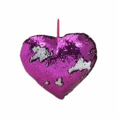 Afgeprijsde woondecoratie hartjes kussens paars/zilver metallic met p