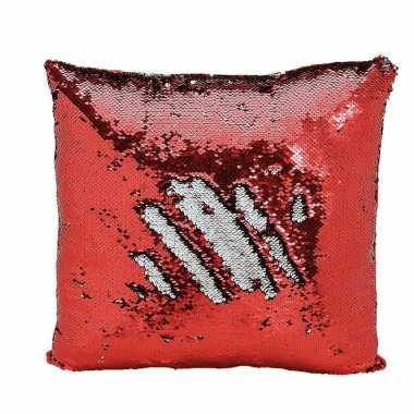 Afgeprijsde woondecoratie wrijf kussens rood/zilver metallic met pail
