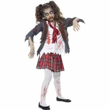 Afgeprijsde zombie schoolmeisje kostuum voor meisjes