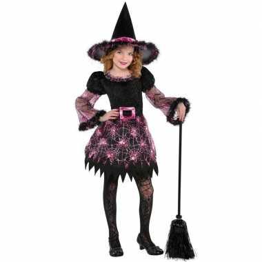 Afgeprijsde zwart met roze heksen kostuum voor meisjes