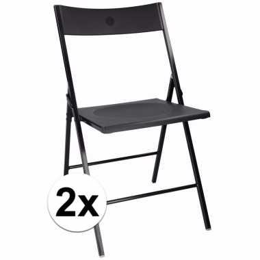 Afgeprijsde zwarte bbq stoeltjes set van 2