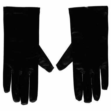 Afgeprijsde zwarte gala handschoenen kort van satijn 20 cm