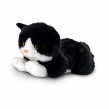 Afgeprijsde zwarte kat met witte knuffelbeestje 35 cm