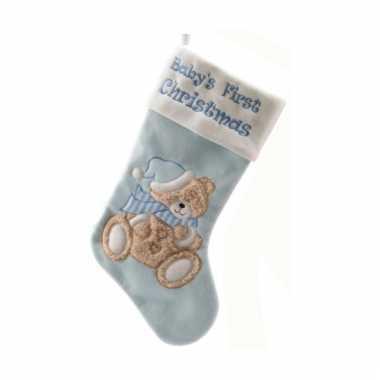 Baby eerste kerstsok blauw