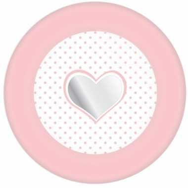 Babyshower bordjes roze met hartje 8 stuks