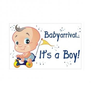 Babyshower decoratiebord geboorte jongen 35 x 55 cm