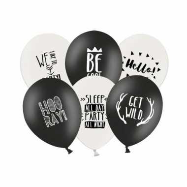 Ballonnen black and white party 6x