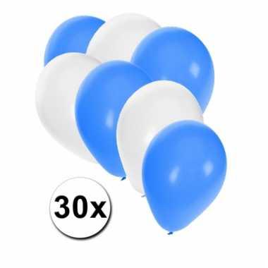 Ballonnen in blauw en wit 30x