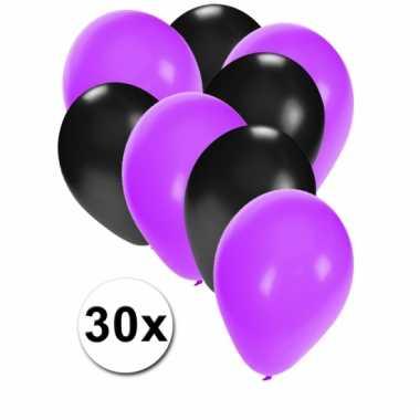 Ballonnen paars en zwart 30x