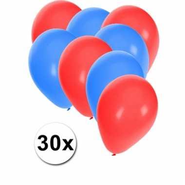 Ballonnen rood en blauw 30x