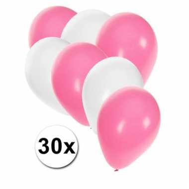 Ballonnen wit en baby roze 30x
