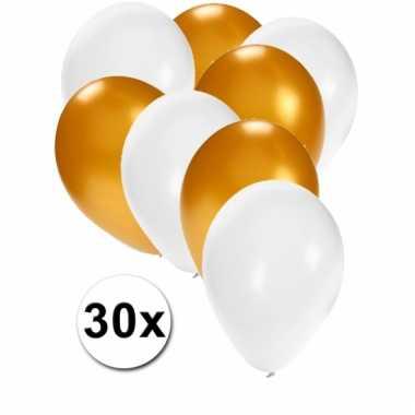 Ballonnen wit en goud 30x