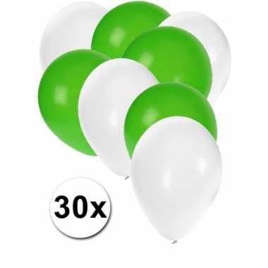 Ballonnen wit en groen 30x