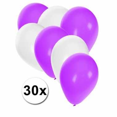 Ballonnen wit en paars 30x