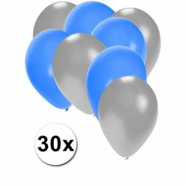 Ballonnen zilver en blauw 30x