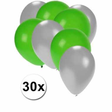 Ballonnen zilver en groen 30x