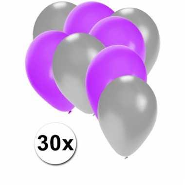 Ballonnen zilver en paars 30x
