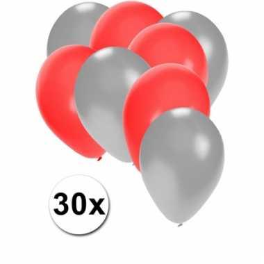 Ballonnen zilver en rood 30x