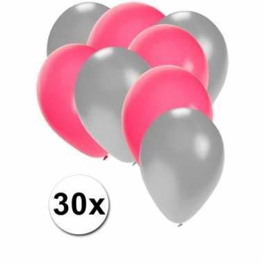 Ballonnen zilver en roze 30x