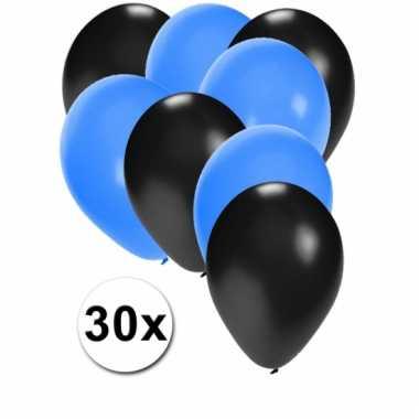 Ballonnen zwart en blauw 30x