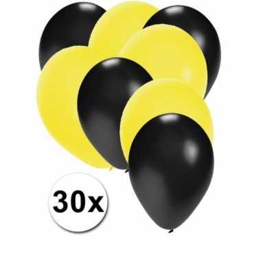Ballonnen zwart en geel 30x
