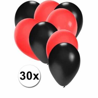 Ballonnen zwart en rood 30x