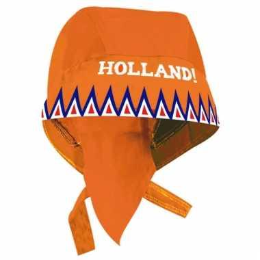 Bandana oranje met de tekst holland
