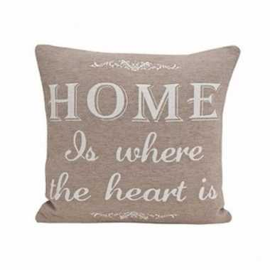 Bankkussentje beige home is where the heart is 45cm