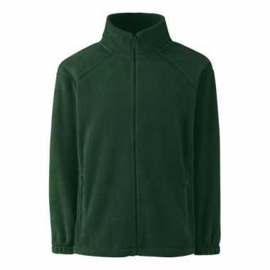 Basis donker groene fleece vesten meisjeskleding