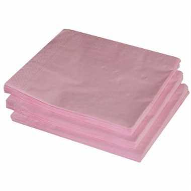 Bbq servetten lichtroze kleur 25 stuks
