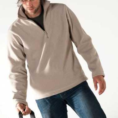 Beige fleece trui voor heren met ritskraag