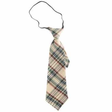 Beige ruit stropdas 30 cm voor volwassenen