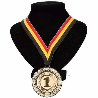 Belgie medaille nr. 1 halslint geel/rood/zwart