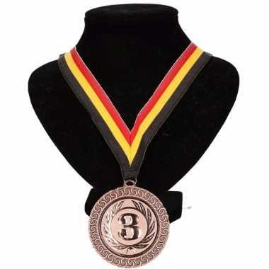 Belgie medaille nr. 3 halslint geel/rood/zwart