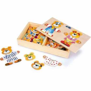 Beren aankleed puzzels van hout