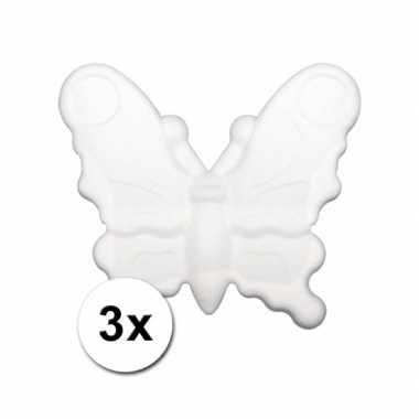 Beschilderbare vlinder van piepschuim 3 stuks